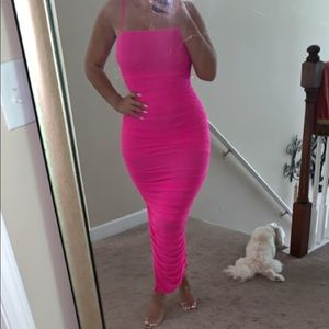Dresses & Skirts - Hot pink, trendy, ruched, tight dress!